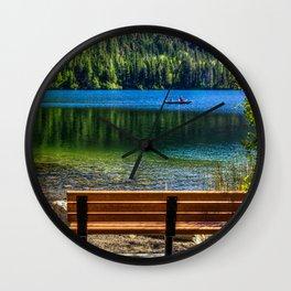 Image California USA June Lake Nature Scenery Bench landscape photography Wall Clock