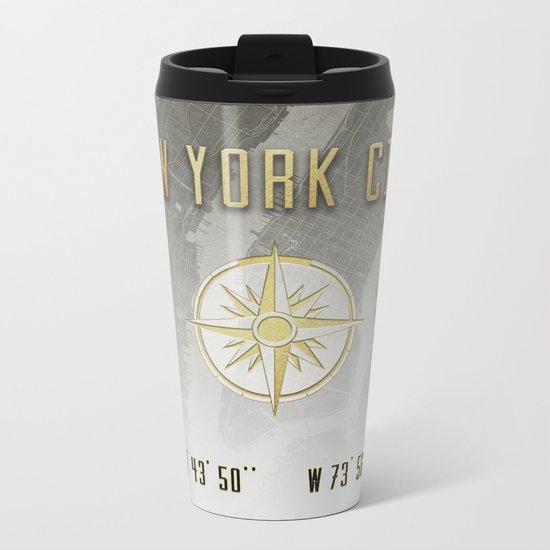 New York City Vintage Location Design Metal Travel Mug