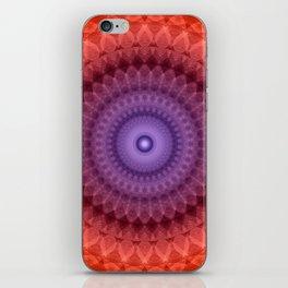Mandala in violet, red and orange colors iPhone Skin
