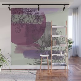 Purple and Gray Floral Wall Mural
