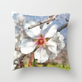 Almond Blossom Study Watercolor Throw Pillow