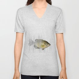 Black Crappie Fish Unisex V-Neck