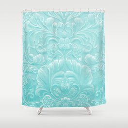 Robin Egg Blue Tooled Leather Shower Curtain