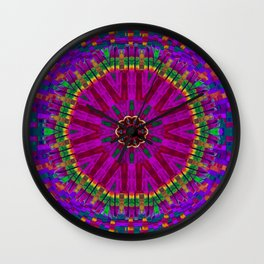 Peacock flower in colors Wall Clock