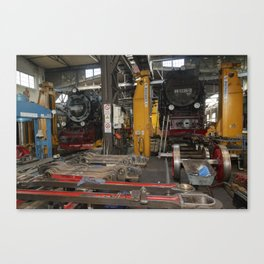 Disassembled steam locomotive Canvas Print