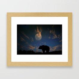 Bear and Moon Framed Art Print