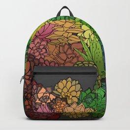 Succulent Garden Rainbow grey sky Backpack
