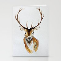 craftberrybush Stationery Cards featuring Buck - Watercolor by craftberrybush