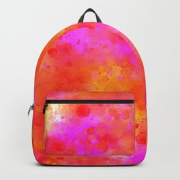 Watercolor Painting Bright Red & Summer Pink Abstract Paint Splashes Backpack
