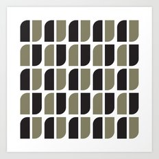 Black & gray curved corners pattern Art Print