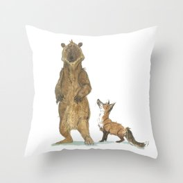Bear and Fox Throw Pillow