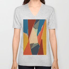 brown orange yellow and blue geometric graffiti painting abstract background Unisex V-Neck