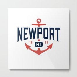 Nautical Newport Rhode Island T-Shirt, RI Vacation Tee Metal Print