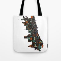 chicago map Tote Bags featuring Chicago by BigRedSharks
