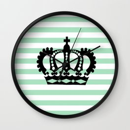 Pastel Goth - Mint Stripes and Crown 1 Wall Clock