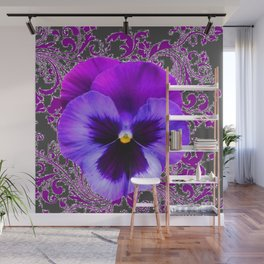 SPRING PURPLE PANSY FLOWER &  DELICATE PATTERN Wall Mural