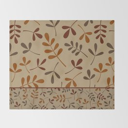 Fall Color Assorted Leaf Silhouettes II Throw Blanket