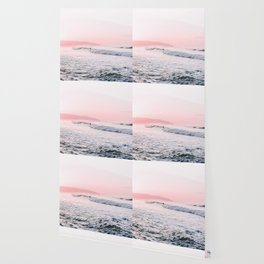 Ocean, Surfer, Pink Sunset, Beach Wall Art Wallpaper