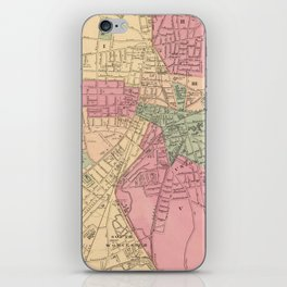 Vintage Map of Worcester MA (1871) iPhone Skin
