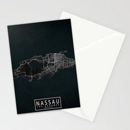 Nassau City Map of The Bahamas - Dark Stationery Cards