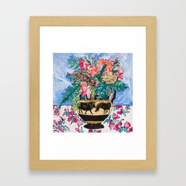 Tropical Banksia Bouquet after Matisse in Greek Boar Urn on Pale Painterly Blue Framed Art Print
