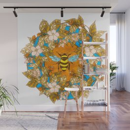 Bumblebee In Wild Rose Wreath Wall Mural
