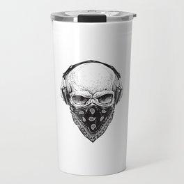 Skull in Headphones Travel Mug