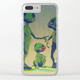 Little Green Family Portrait Clear iPhone Case