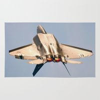 aviation Area & Throw Rugs featuring Aviation F-22 Raptor Air Show USAF by Aviator