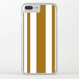 Mixed Vertical Stripes - White and Golden Brown Clear iPhone Case