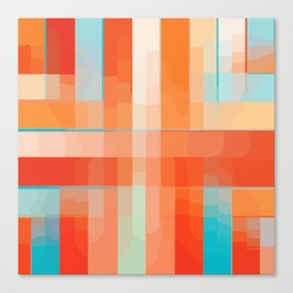Orange Turquoise Summer Abstract Design Canvas Print