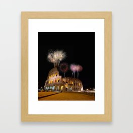 Colosseum illuminated with fireworks in Rome. Framed Art Print