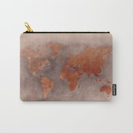 World map 7 brown Carry-All Pouch