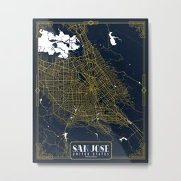 San Jose City Map of the United States - Gold Art Deco Metal Print