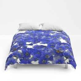 Little Blue Flowers on White Comforters