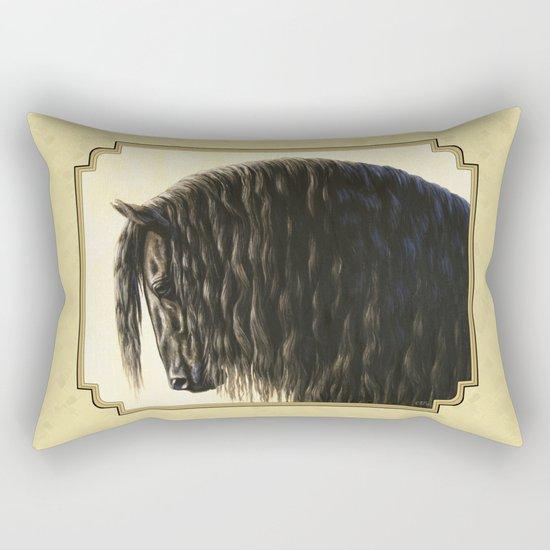Black Friesian Draft Horse Rectangular Pillow