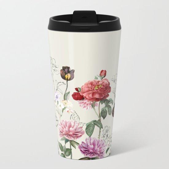 Flowers illustraion Metal Travel Mug