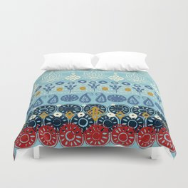 lotus block blue Duvet Cover