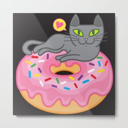 My cat loves donuts 2 Metal Print