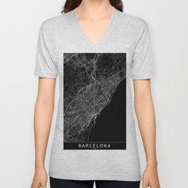 Barcelona Black Map Unisex V-Neck