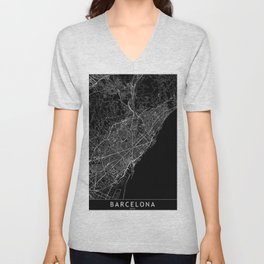 Barcelona Black Map Unisex V-Neck