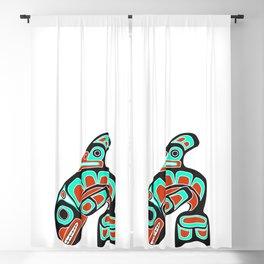 Alaska Orca Whale Haida Style Art - Native American Tribal Blackout Curtain