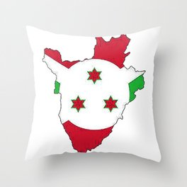 Burundi Map with Burundian Flag Throw Pillow