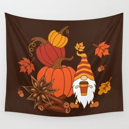 Pumpkins, star anise, cinnamon sticks, autumn leaves and gnome with a cup of pumpkin spice drink. Holiday card. Vintage fall design.  Wall Tapestry