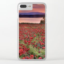 """""""Sea of poppies"""". Sunset at the lake Clear iPhone Case"""