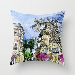 Plaça de la Virreina, Barcelona Throw Pillow