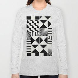 Mosaic Black And White Pattern Long Sleeve T-shirt