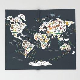 Cartoon animal world map for kids, back to school. Animals from all over the world Throw Blanket
