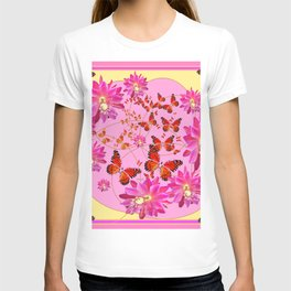 Modern Pink Butterflies Floral Abstract T-shirt