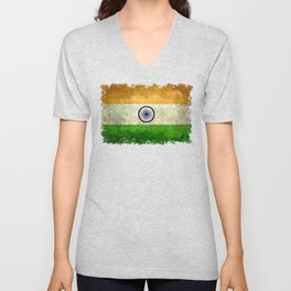 Flag of India - Retro Style Vintage version Unisex V-Neck